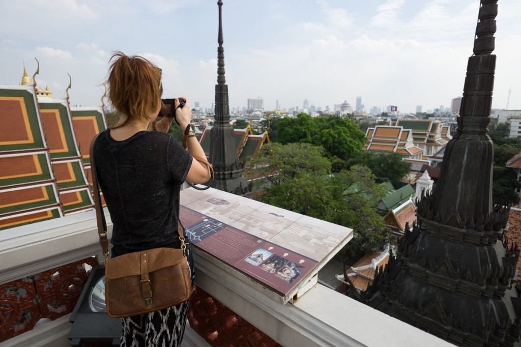 Get your wide-angle ready, Walking to the top of Wat Ratchanaddaram gives you a great view to shoot bangkok's skyline!